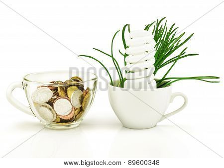 Energy-saving Lamp, Money, Grass, Cup, Concept