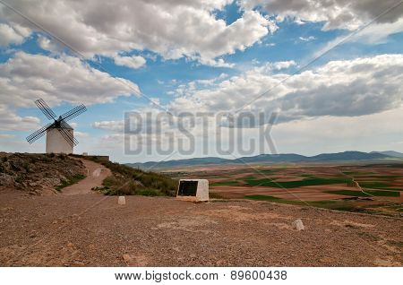 Traditional white windmill in Consuegra, Spain