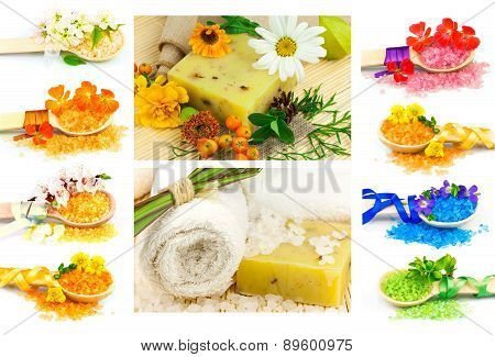 Spa Set With Color Sea Salt In Wooden Spoon, Flowers, Plants, Towel, Soap, Ribbons