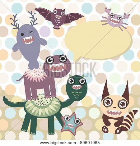 Polka Dot Background, Pattern. Funny Cute Dinosaur Monsters On Dot Background. Vector