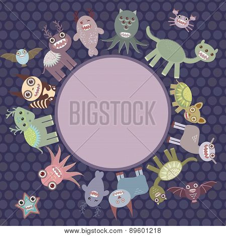 Card For Your Text In Circle. Funny Cute Dinosaur Monsters On Dark Dot Background. Vector