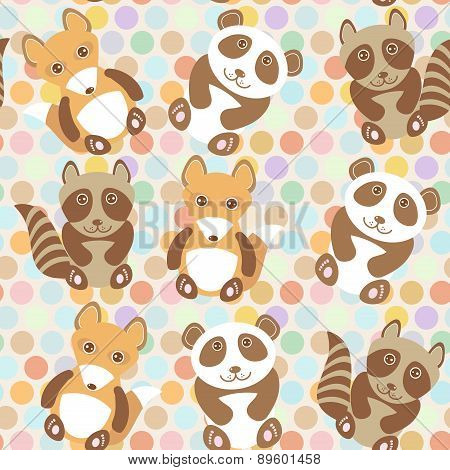 Polka Dot Background, Pattern. Funny Cute Raccoon, Panda, Fox On Dot Background. Vector