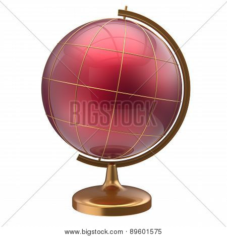 Globe Blank Red Planet International Global Geography Symbol
