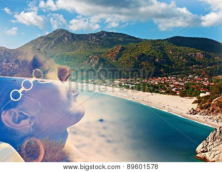 Double Exposure Of Young Woman Sunbathing And Exotic Beach