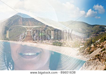 Double Exposure Image Of A Woman In A Sunhat And Exotic Beach