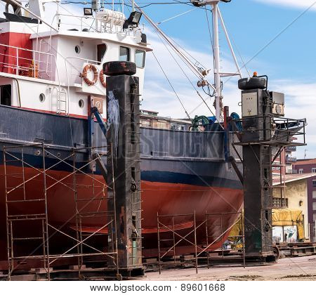 Fishing Boat In A Shipyard For Maintenance