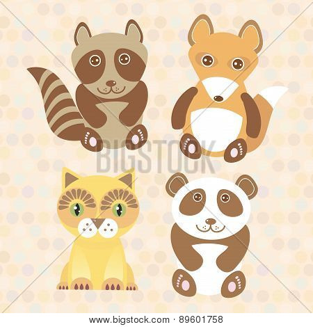 Funny Cute Raccoon, Panda, Fox, Cat On Dot Background. Vector