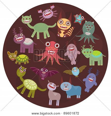 Funny Monsters Card Design. Funny Monsters Set Big Collection On  Dark Background In The Circle. Vec