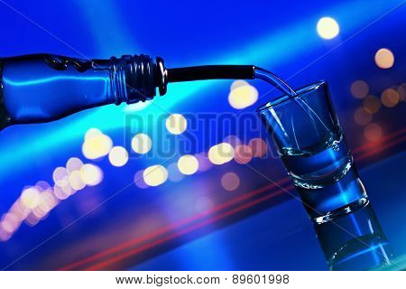 Vodka On Glass Table