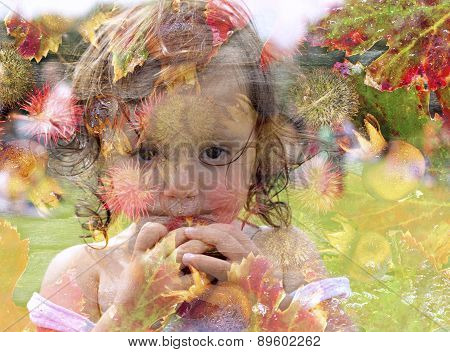 Double exposure portrait of a young girl holding an apple