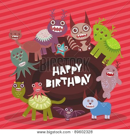 Happy Birthday Funny Monsters Party Card Design On Pink Striped Background. Vector
