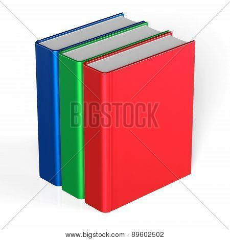 Books Blank Three Cover Standing 3 Textbook Template Icon