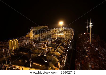 Deck Of The Tanker At Night