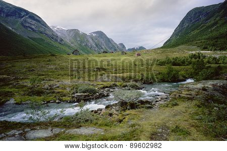 Norway, the mountain valley of the river