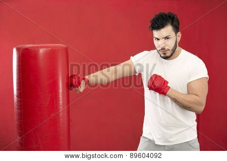 Boxer In Training On A Punching Bag