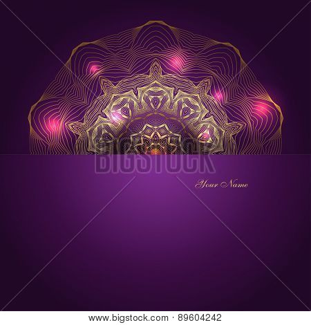 Greeting card design with golden shiny ornament, vector