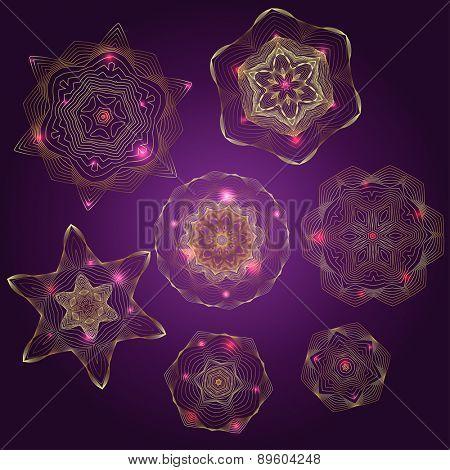 Set of abstract golden stars, vector illustration