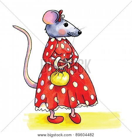 funny Lady mouse with red dotted dress isolated over white background