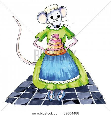 Grandma mouse with big birthday cake
