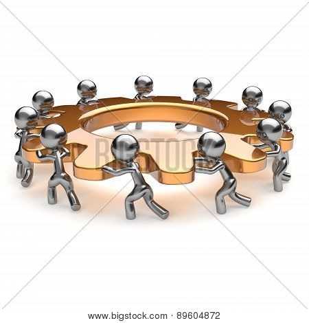 Teamwork Partnership Team Work Unity Business Process Gear