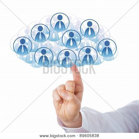 Finger Touching Cloud Of Many Office Worker Icons
