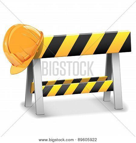 Vector Under Construction Barrier With Helmet