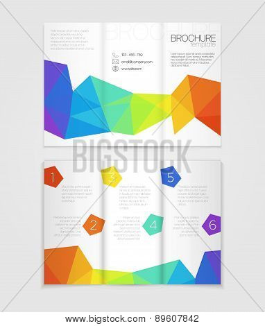 Brochure template design with rainbow elements