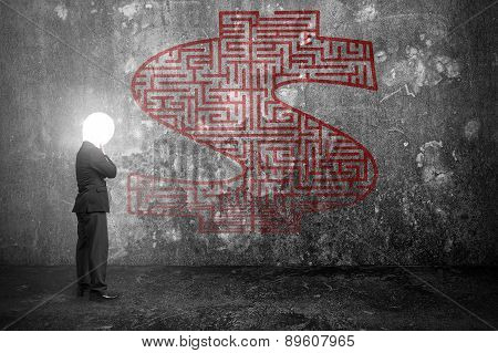 Thinking Businessman With Bright Lamp Head Illuminated Dollar Sign Maze