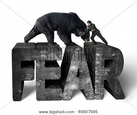 Businessman Fighting Against Black Bear On 3D Fear Concrete Word