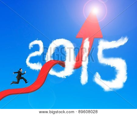 Businessman Running Arrow Upward Trend Line Through 2015 Clouds Sunlight
