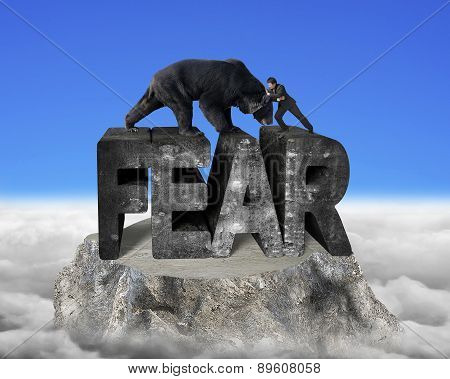 Businessman Fighting Against Black Bear On Fear 3D Concrete Word