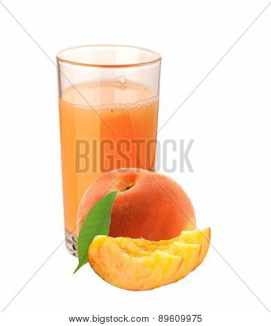 Peach Juice In Glass And Peach Fruit Isolated On White