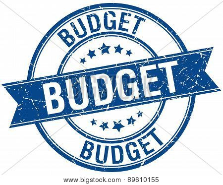 Budget Grunge Retro Blue Isolated Ribbon Stamp