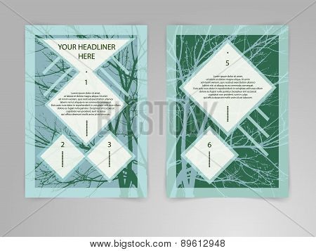 Abstract hipster Brochure Flyer design vector template with tree shape in A4 size. Business, plan, p