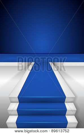 Blue Carpet On Stairways And Blank Podium