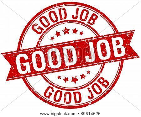 Good Job Grunge Retro Red Isolated Ribbon Stamp