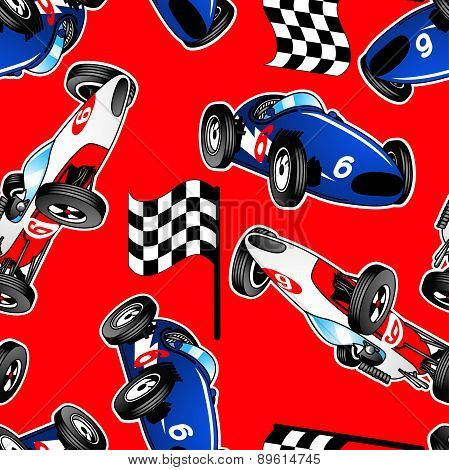Red, White And Blue Racing Cars Seamless Pattern