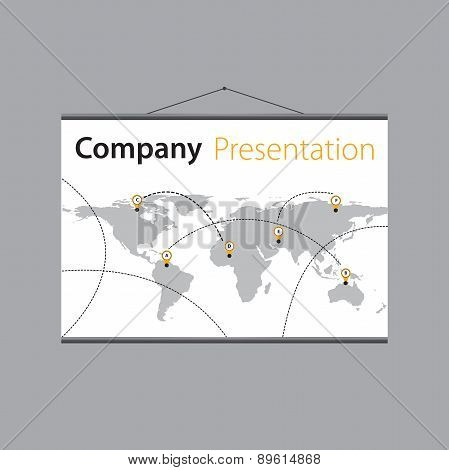 presentation of the company's global delivery on projector screen. Vector design.