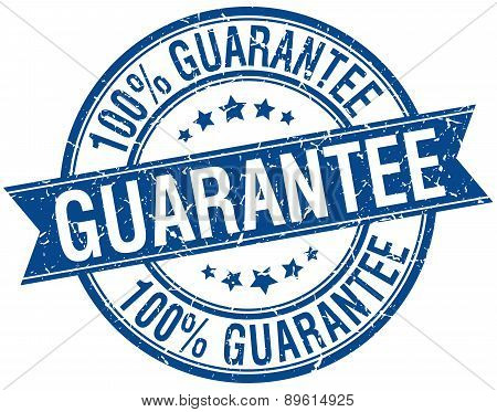 Guarantee Grunge Retro Blue Isolated Ribbon Stamp