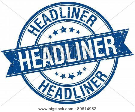 Headliner Grunge Retro Blue Isolated Ribbon Stamp