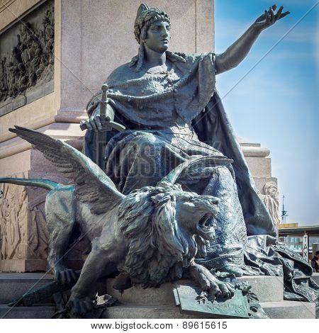 Equestrian Monument Vittorio Emanuele Ii On Riva Degli Schiavoni, Venice, Italy
