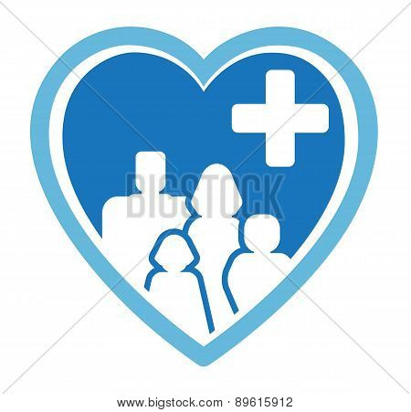 medicine icon with family on heart