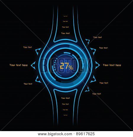 Blue And Orange Infographics As Head-up Display
