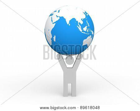 3D man holding earth