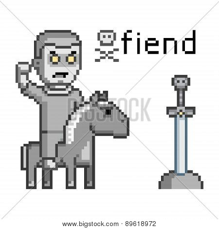 Pixel art enemy warrior on a horse