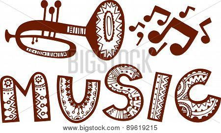 Trumpet plays music. Vector sign.