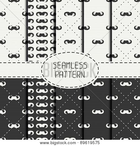 Set of vector fashionable seamless retro pattern with curly vintage hipster gentleman mustache. Wrap