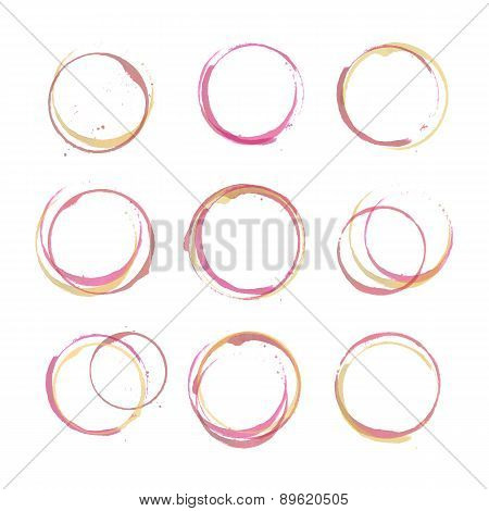 Wine stain circles set