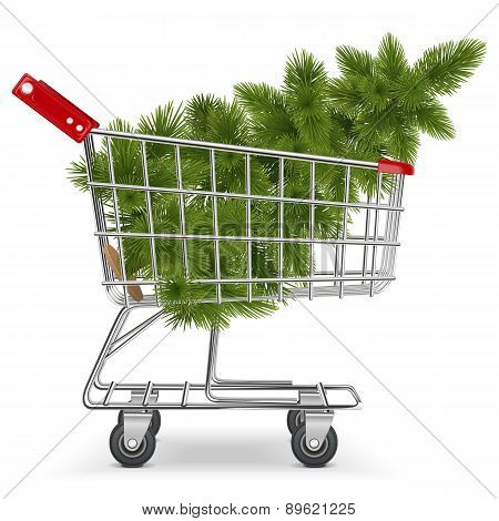 Vector Cart with Christmas Tree