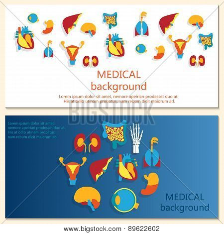 Concept of web banner. Medical background. Human anatomy.
